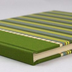 Guest Book Lined or Blank 9x7 Green Stripes  by WatermarkBindery, $46.00