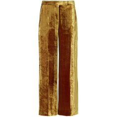 A.L.C. Women's Velvet Gaucho Pant ($525) ❤ liked on Polyvore featuring pants, gold, zipper trousers, brown pants, brown gaucho pants, zipper pants and lined pants