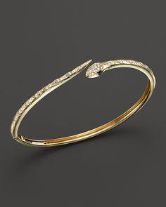 Black And White Diamond Snake Bangle In 14k Yellow Gold Bracelet Bracelets