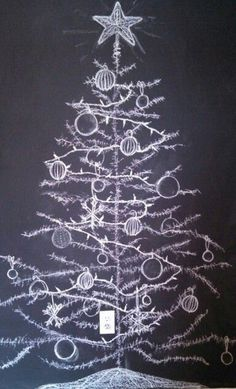 Alternative Christmas Tree Ideas for 2019 - DIY Christmas Tree Ideas Blackboard Art, Chalkboard Drawings, Chalkboard Lettering, Chalkboard Designs, Chalk Drawings, Chalkboard Ideas, Chalkboard Paint, Alternative Christmas Tree, Cool Christmas Trees