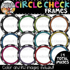 Circle Check Frames Clipart  {TpT Sellers Clipart} is perfect for customizing all of your Classroom Resources. Images have been provided in color and bw in 300 dpi. Click on the link to view this set and more in my Teachers Pay Teachers shop- Creating4 the Classroom #Clipartforteachers