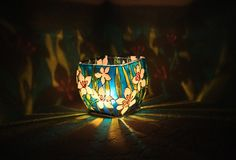 White Lilies  Hand Painted Candle Holder  by SylwiaGlassArt, $80.00