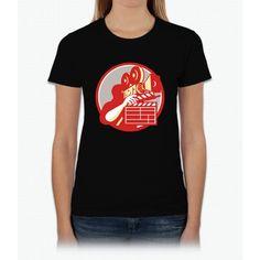 Cameraman Vintage Film Movie Camera Clapboard Retro Bee Movie Womens T-Shirt