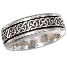 Men's Silver Antiqued Celtic Knot Spinner Band - JP1813