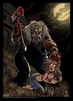 """The killer featured in this illustration is Madman Marz, from the movie """"Madman"""". My wife Monica, who usually loves my artwork, was really disturbed by this one, for some reason. UPDATE: A couple o..."""