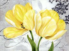 Colori Yellow II Canvas Art - Pamela Gladding x Painting Prints, Fine Art Prints, Yellow Art, Yellow Painting, Grey Yellow, Flower Pictures, Whimsical Art, Print Artist, Botanical Prints
