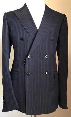 2de3251fc3f New $3255 Gucci Double Breasted Suit Caspian Blue Striped 46R US ( 56R Eu)  Italy