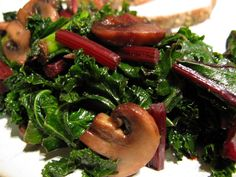 Braised Kale (three variations) - The Paleo Mom ** Good. Used rainbow kale bag, garlic, mushrooms Kale Recipes, New Recipes, Healthy Recipes, Primal Recipes, Paleo Meals, Recipies, Veggie Side Dishes, Healthy Side Dishes, Paleo Vegetables