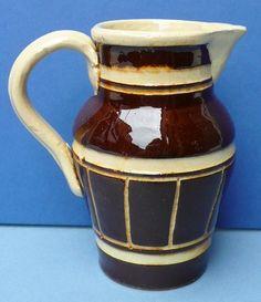 Antique Mocha Ware Banded Machine Turned Cream Jug 1800 Mochaware Yellow Ware