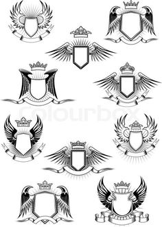 Stock vector of 'Heraldic coat of arms templates with medieval winged shields decorated royal crowns and blank ribbon banners' Badge Design, Logo Design, Eagle Icon, Shield Logo, Shield Vector, Wings Logo, Ribbon Banner, Affinity Designer, Wings Design
