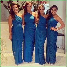 Wholesale Bridesmaid Dresses - Buy New Modern Sheath Chiffon Mermaid 2014 Bridesmaid Dresses One Shoulder Elegant Sash Long Floor Length Prom Formal Evening Gowns W5028 Cheap, $60.27 | DHgate