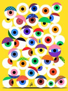 Creative Mkrnld, Eyeballs, Work, Illustration, and Pattern image ideas & inspiration on Designspiration Design Floral, Art Design, Graphic Design Posters, Graphic Design Inspiration, Fashion Pattern, Graphic Eyes, Eye Illustration, Collaborative Art, Pattern Images