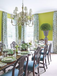 This dining room is an example of Meg Braff's penchant for refreshing heirloom antiques with an invigorating color palette.  Photo By Francesco Lagnese