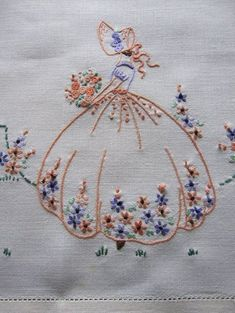 I would be willing to bet i did this pattern as a very young girl vintage tray cloth crinoline lady hand embroidered linen Embroidery Transfers, Hand Embroidery Stitches, Silk Ribbon Embroidery, Vintage Embroidery, Embroidery Art, Cross Stitch Embroidery, Embroidery Patterns, Machine Embroidery, Mexican Embroidery
