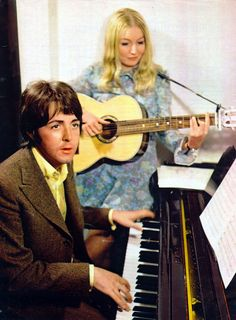 Paul McCartney and Mary Hopkin. Paul produced her 1968 hit 'Those Were The Days'.