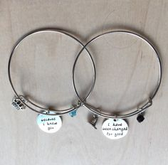 Elphaba and Glinda Wicked Musical Inspired Bracelets Bangle Set Because I Knew You I have Been Changed For Good Bangle size is adjustable. Give one