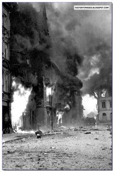 Within These Walls / Book Week 2017 / Polish Tragedy: Warsaw Uprising of Warsaw burns during the uprising.- photographical history of the place the book is set Poland Ww2, Invasion Of Poland, Warsaw Poland, Warsaw Ghetto Uprising, Poland History, Interesting History, World War Two, Old Photos, Wwii