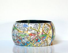 Armreifen BERLIN Mitte City map recycled paper von PappLePapp
