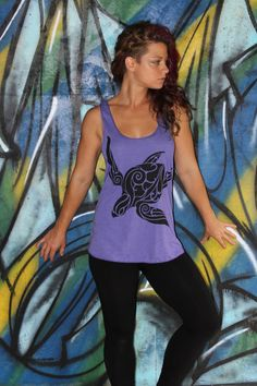Sea Turtle Racer Back Tank top - Black Eco-Friendly ink on 9 available American Apparel colors