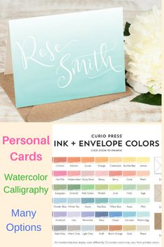Beautiful Watercolor Cards WATERCOLOR FADE Watercolor Calligraphy Personalized Stationery Note Cards / Thank You Cards #ad