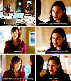 """""""Because I'm not supposed to say anything!"""" - Cisco and Caitlin #TheFlash"""