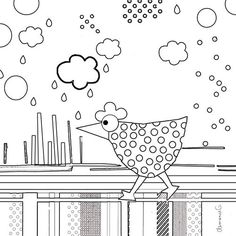 coloring page (of course, I may use the chicken as a pattern!)