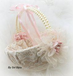 Cesta de la muchacha de flor rosa Tan Beige Champagne por SolBijou