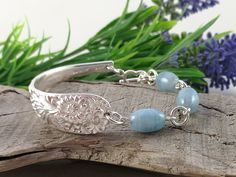 Sterling silver SPOON BRACELET, Aquamarine Half Cuff Bangle. Silverware Jewelry. Upcycled from Vintage Spoon. Solid Silver Bangles, Silver Spoon Jewelry, Silverware Jewelry, Silver Spoons, Spoon Bracelet, Bracelets, Silver Cleaning Cloth, Gemstones, Sterling Silver