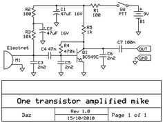 One transistor amplified microphone