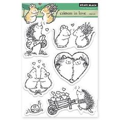 PENNY-BLACK-RUBBER-STAMPS-CLEAR-CRITTERS-IN-LOVE-NEW-STAMPS-SET-2013