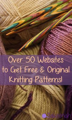 Over 50 Websites to Get Free & Original Knitting Patterns! Over 50 Websites to Get Free & Original Knitting Patterns! Knitting Websites, Knitting Help, Loom Knitting, Knitting Stitches, Knitting Patterns Free, Knit Patterns, Hand Knitting, Vogue Knitting, Knitting Needles