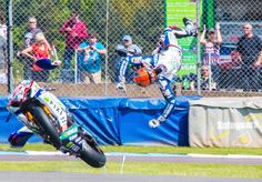 WSBK. As a general rule (and as a biker myself!) I don't like to post crash pictures unless they are such spectacular shots in themselves- this qualifies AND Leon Camier on the Cresent fixi suzuki gsx-r1000 l3 was unhurt.