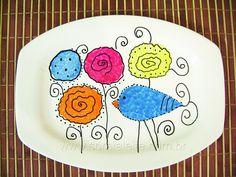 Prato pássaro pintado a mão