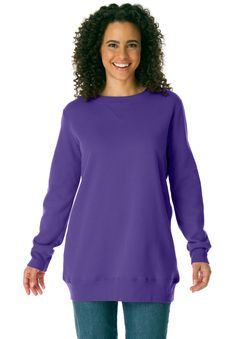 """Our best-selling fleece plus size top in tunic length is a winner for a reason. Customers love the roomy relaxed styling and the fabric, both of which result in the world's most comfortable knit top.  roomy relaxed fit provides you with superior all-day comfort your favorite tunic length, 30"""", falls to mid thigh for comfy coverage the crewneck keeps you covered and comfortable the long sleeves are amply designed for ease with armholes shaped to afford maximal ease of movement trimmed with…"""