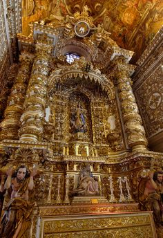 Baroque architecture inside Church of São Francisco - Salvador, Brazil