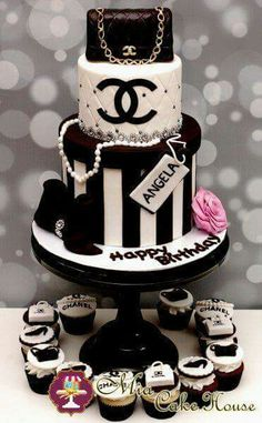 Chanel Birthday Cake but instead of the name angela i'll rather have you put – Lace Wedding Cake Ideas Chanel Torte, Coco Chanel Cake, Chanel Birthday Cake, Cake Birthday, Bolo Channel, Fondant Cakes, Cupcake Cakes, Shoe Cakes, Sweets Cake