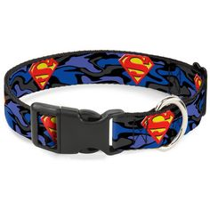b8962e583 Buckle-Down SUPERMAN Action Blocks Red/Blue Dog Collar Size:WL - Fits - Wide  Your dog will be the talk of the town when people notice they're