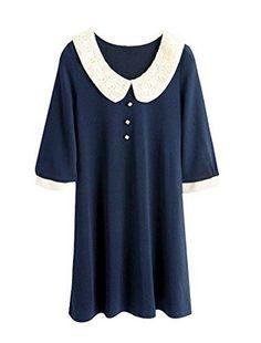 Peter Pan Collar Mini-Dress - Assorted Colors at Savings off Retail! Half Sleeve Dresses, Half Sleeves, Blue Dresses, Short Dresses, Dark Blue, Peter Pan, Dress Up, Tunic Tops, Lifestyle