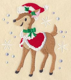 Christmas Prance Deer Free machine embroidery design from Embroidery Library December 2014.