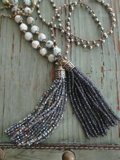 **Beaded tassel on necklace of stunning beads. LM 12-2016