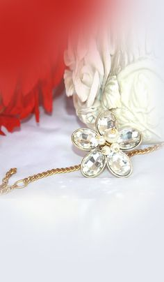 #Bangles & #Bracelets - Crystal Flower Bracelet With Pearl Work Costs Rs. 475. #Jewellery. BUY it here: http://www.artisangilt.com/imitation-jewellery-fashion-jewelry/bangles-bracelets/crystal-flower-bracelet-with-pearl-work-67099.html?ref=pin