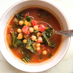 Vegan and Gluten Free Spicy Moroccan Chickpea Soup.  #Soup #Vegan #Vegetarian #GlutenFree #Chickpea #Moroccan #Kale #Tomato #Food #Dinner #Easy #Recipe