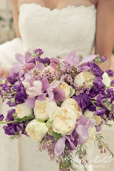 Color Inspiration: Purple Wedding Ideas for a Regal Event - purple and white bridal bouquet; Alexi Shields Photography