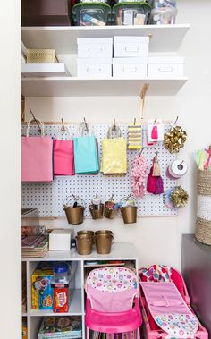 Craft closet, wrapping station, organization, container store - home office Small Space Organization, Home Office Organization, Organizing Your Home, Home Office Decor, Home Decor, Office Ideas, Organization Ideas, Organizing Tips, Cleaning Tips
