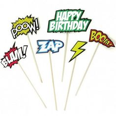 Ruby Rabbit Partyware - Superhero Comic Cake Toppers (6 pack)