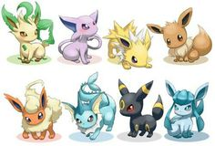 Eevee evolution, cute, Umbreon, Espeon, Vaporeon, Glaceon, Leafeon, Jolteon, Flareon; Pokemon