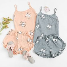 Shop Cartoon Print Frill Trim Cami Pajama Set at ROMWE, discover more fashion styles online. Cute Pajama Sets, Cute Pjs, Cute Pajamas, Pajamas Women, Cute Lazy Outfits, Trendy Outfits, Kids Outfits, Summer Outfits, Cute Sleepwear