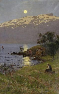 "Norwegian painting, ""Midnight Sun over the Fjord "" , by Hans Dahl:"