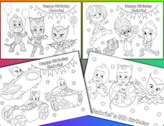 PJ Masks Coloring Pages Birthday Party Favor By VSstudio