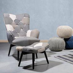 Fotel czarno-biały + pufa - fotel tapicerowany - krzesło - VEJLE